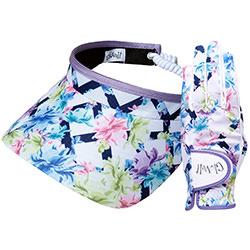 """Set dames golfhandschoen en zonneklep / visor """"Glove It""""– design Pastel Lattice"""