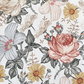 Vintage bloemen, french terry