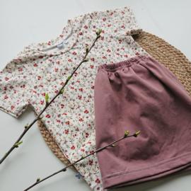 Setje maat 98, shirt korte mouw bloemetjes klein, rokje tricot mauve