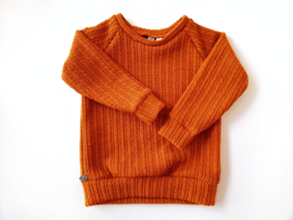 Raglan sweater, twisted knit roest