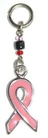 Roze lintje hangertje met kraaltjes voor aan bijv je sleutelbos