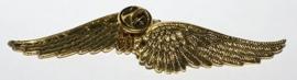 Goudkleurige broche/pin vleugel