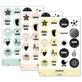Stickervel 'baby op komst' (ronde stickers)