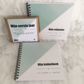 Pakket: uitsprakenboekje + mijlpalenboekje + mijlpaalkaarten  MINTGROEN