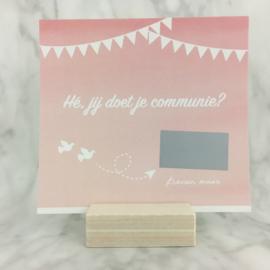 Kraskaart communie OF lentefeest (roos)