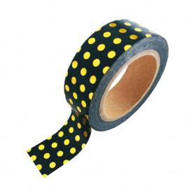 Washi-tape goudfolie bolletjes zwart