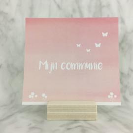 Uitnodiging communie (roos) 5 stuks