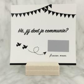 Kraskaart communie OF lentefeest (wit-zwart)