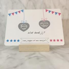 Kraskaart hoera een meisje per 5 stuks (hartje)
