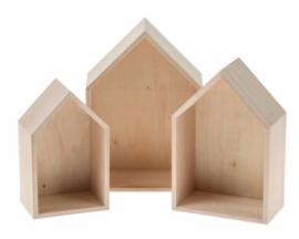 Set van 3 houten huisjes