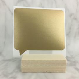 Krassticker gouden tekstballon 77x71mm