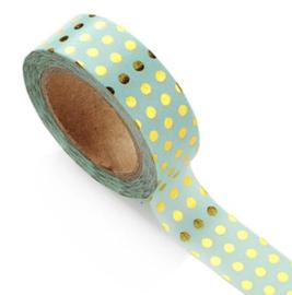 Washi-tape goudfolie bolletjes munt-groen