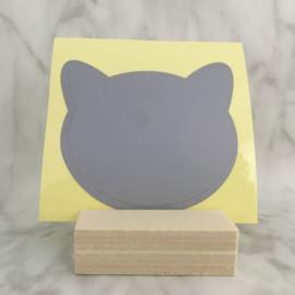 Krassticker kat zilver-grijs 77x77mm