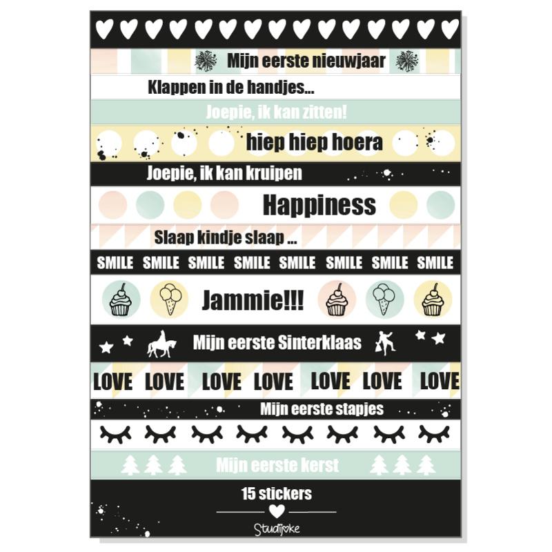 Stickervel 'mijn eerste jaar' (lange stickers)