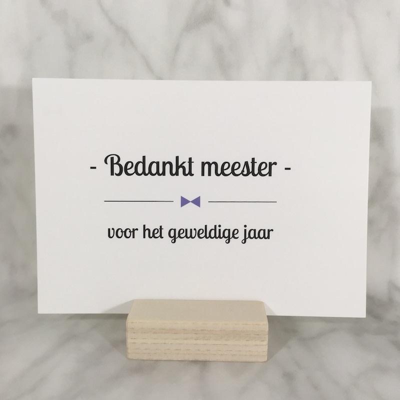 Postkaart 'bedankt meester'