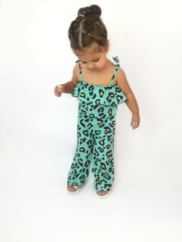 Leopard jumpsuit mint