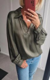 NAPOLI satin blouse khaki
