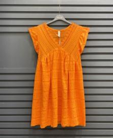 NINA cotton embroidered dress orange