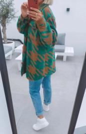 BENTHE jacket green and camel
