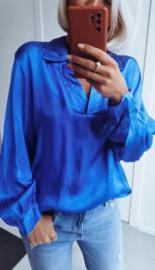 NAPOLI satin blouse royal blue