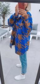 BENTHE jacket royal blue and camel