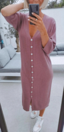 MAURA buttoned knit dress old pink