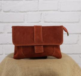 VINCENZE suede crossbody bag brick