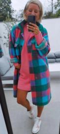 CHARLIE checkered jacket fuschia