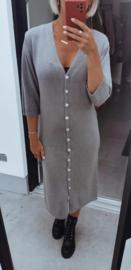MAURA buttoned knit dress grey