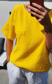 CLAIRE short-sleeved tetra blouse yellow