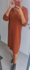 STELLA knit collar dress brick