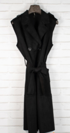 WILLIE waistcoat midi suede jacket black