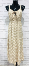 MAURA retro summer viscose dress beige