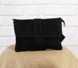 VINCENZE suede crossbody bag black