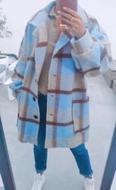 MINA checkered jacket soft blue