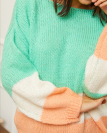 HAPPY SPRING colour block sweater