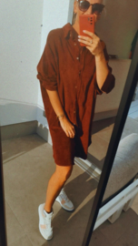 EMMA velours shirt dress brick