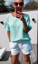 CLAIRE short-sleeved tetra blouse mint