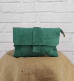 VINCENZE suede crossbody bag bottle green