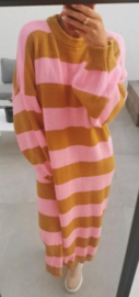 READY TO ROCK striped dress pink