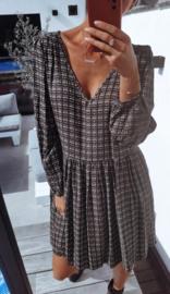 ÉLOÏSE viscose v-neck buttonned dress anthracite