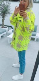 BENTHE jacket fluo yellow and beige