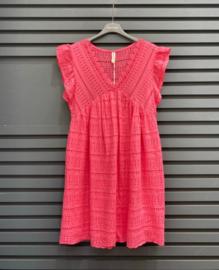 NINA cotton embroidered dress fuschia