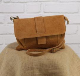 VINCENZE suede crossbody bag camel