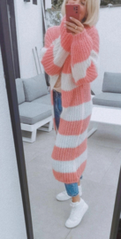 MAUDE maxi cardigan striped pink