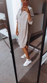 EMMA velours shirt dress beige