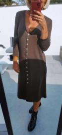 SAMIE knit buttonned dress brown