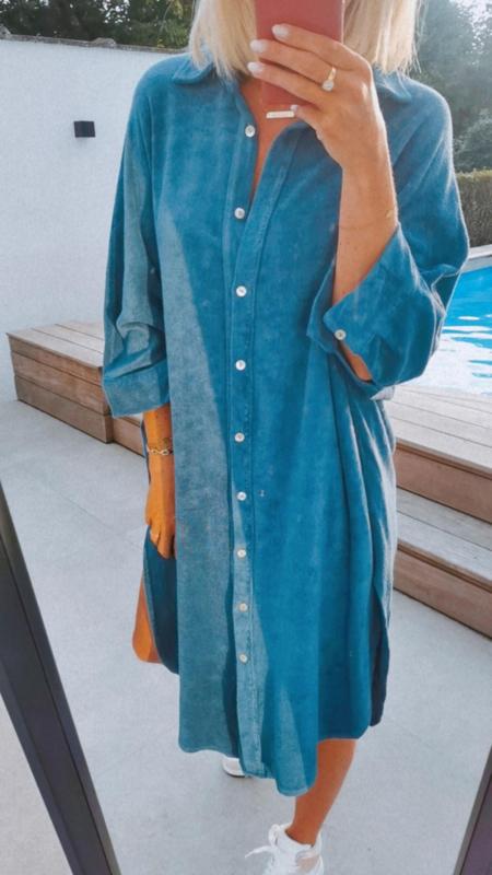 EMMA velours shirt dress teal