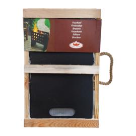 Vuurkorf in houten krat vierkant