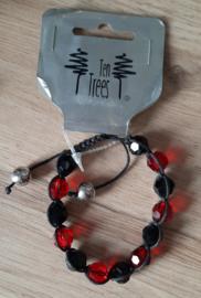 Kralen armband stof rood/zwart
